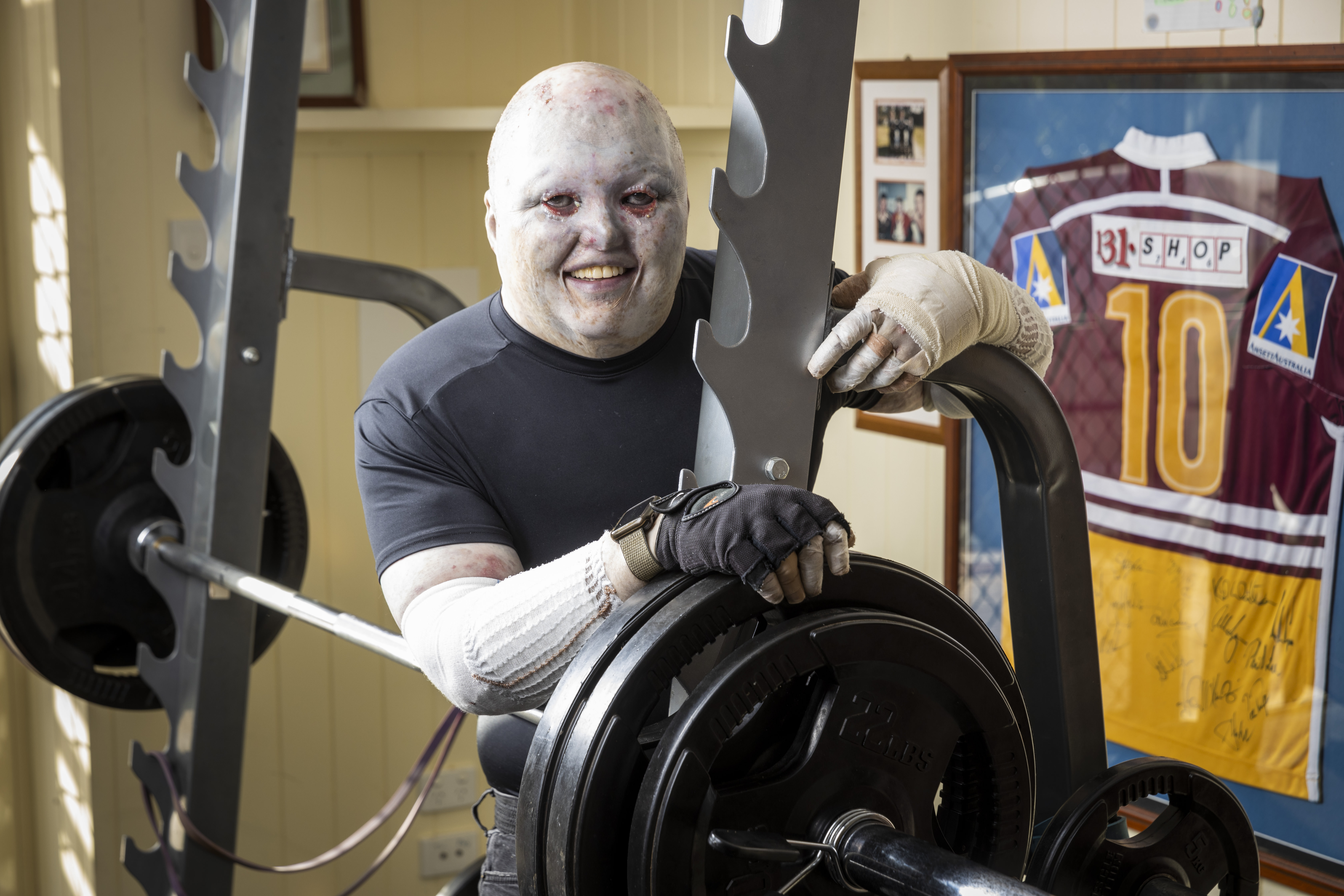 Dean at home with my weights